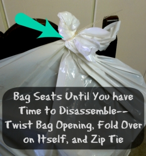 Tip: Keep both a flat head and a Phillips-head screw drive in your car, along with contractor-grade garbage bags and zip ties, just for preparing furniture for transport.