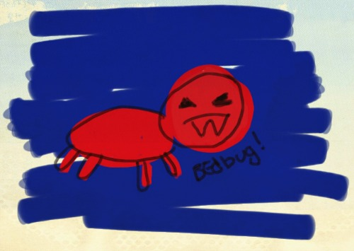kids drawing of a bedbug